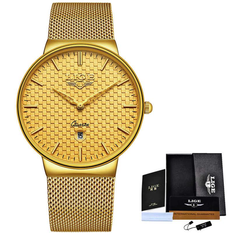 LIGE modne męskie zegarki Top luksusowa marka Ultra cienki zegarek kwarcowy siatka stalowa bransoletka wodoodporny zegarek zegar mężczyźni Relogio Masculino + Box