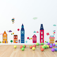 City Building Cartoon Dicor Decorations Wall Stickers for Kids Rooms DIY Removable Art Vinyl Mural  QTB682 Loving Town