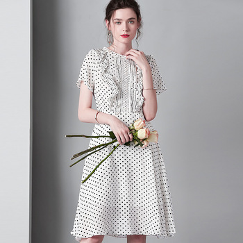 white polka dot  floral dress women 2019 long work boho beach summer sexy party luxury dresses plus size wooden ear edge