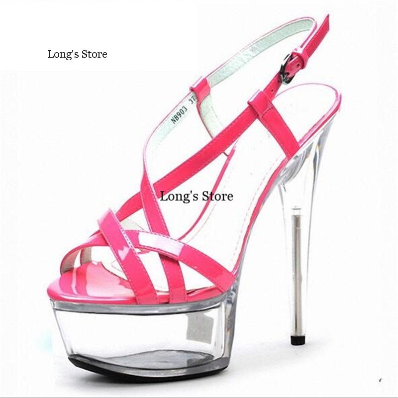 ФОТО CDTS Plus:35-46 2016 Summer new ladies crystal platforms Ankle Strap Sandals 15cm thin high heels sexy pumps woman wedding shoes