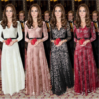 Europejskie I Amerykańskie Popularne Koronkowe Sukienki Sexy Mesh damska Z Długim Rękawem Maxi Dress Party Dress