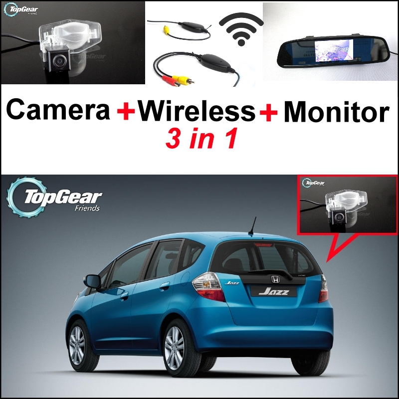 3 in1 Special Rear View Camera + Wireless Receiver + Mirror Monitor Back Up Parking System For Honda Jazz 5D 2002~2013 3 in1 special rear view camera wireless receiver mirror monitor back up parking system for honda jazz 5d 2002 2013