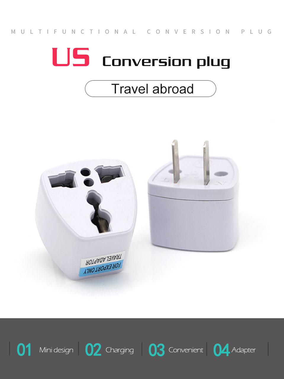 1PC New Arrivals EU UK AU to US Plugs adapter Power Converter Plugs 2 Pin Socket EU to America Travel Charger Adapter Converter (1)