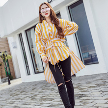 2017 new autumn women's top clothing slim elegant long sleeves striped long shirt fashion retro Korean style blouses nt016