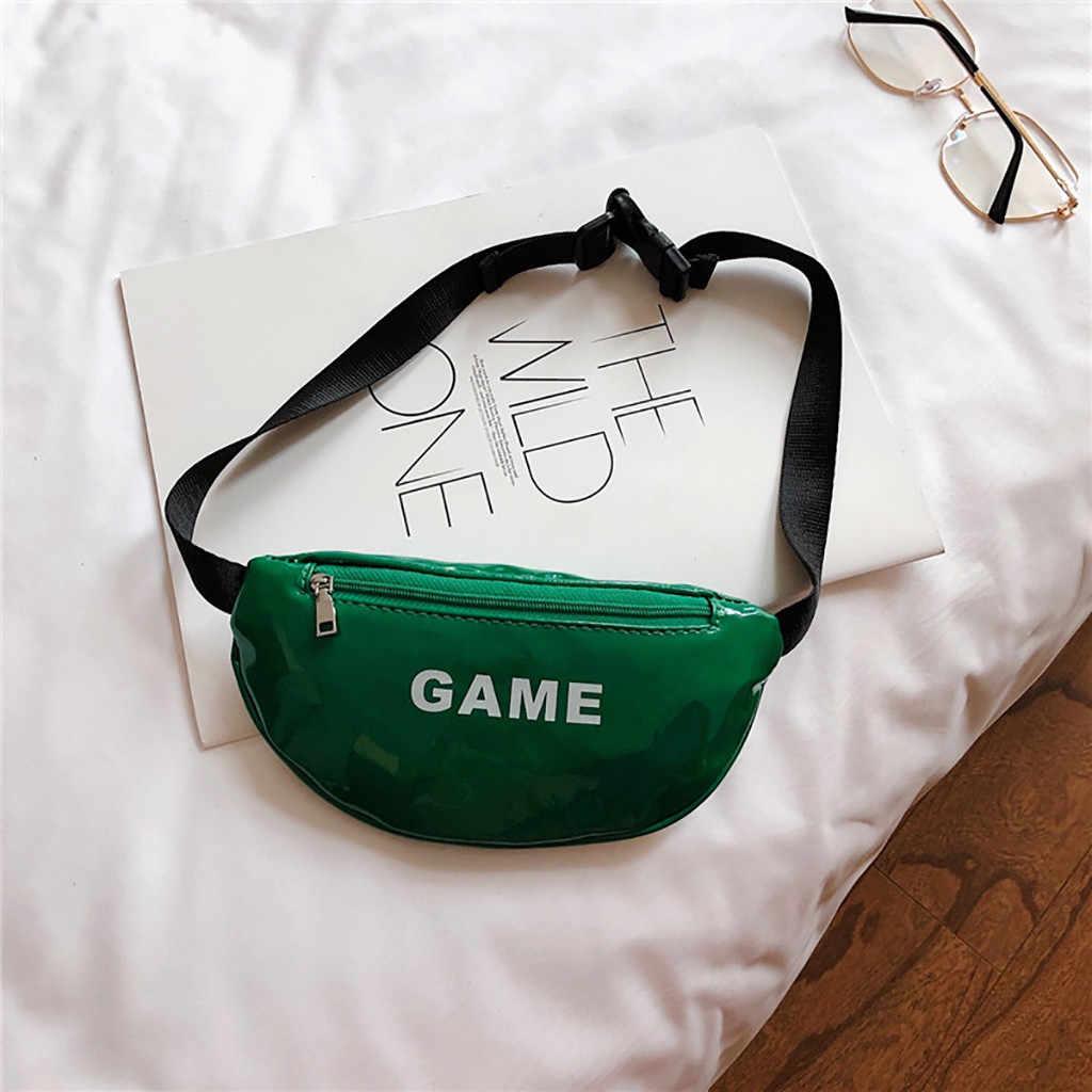 Niño niños bolso de la cintura fanny pack carta cremallera sólida Joker bolso de moda de bolsillo en el pecho de cuero bolso de brusttasche 2019