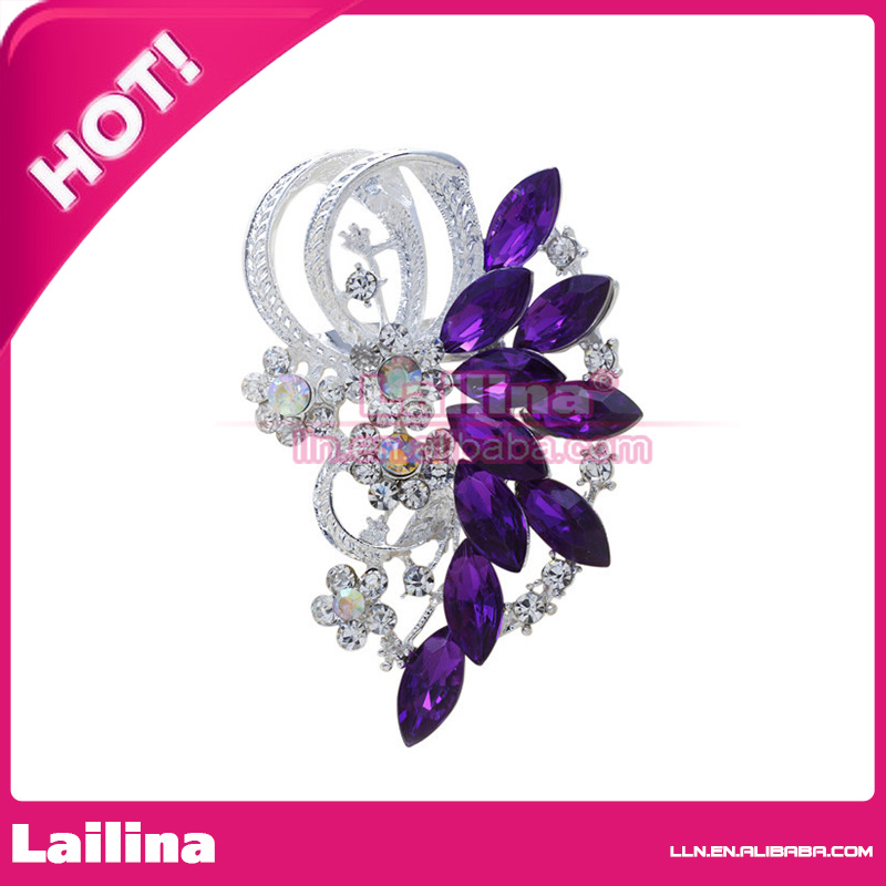 Summer style Purple Shiny colorful cardigan broches pin crystal rhinestone  brooch silver planted brooch pin for women e2f6da114bae