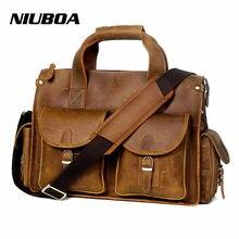2dcf083e32de Niuboa Винтаж Crazy Horse кожа Для мужчин сумка на плечо из натуральной кожи  Кроссбоди мешок евро