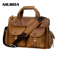 NIUBOA Vintage Crazy Horse Leather Men Shoulder Bag Genuine Leather Bag Crossbody Bag Male Leisure Cowhide
