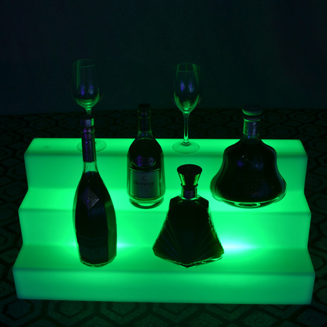 Rechargeable indoor 16 color changing glowing in dark LED Wine holder LED Glowing Lamp for Bar Furniture Free Shipping 2pcs/Lot