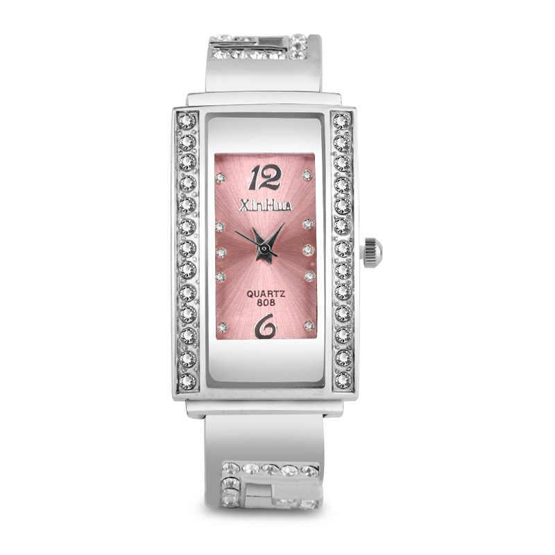 Модные женские часы Роскошные Стразы прямоугольные часы женские из нержавеющей стали Кварцевые Браслет-часы Montres Femme часы женские