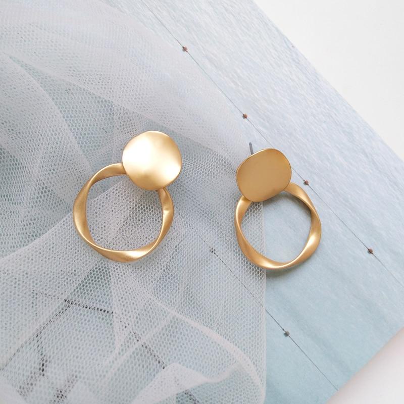 Declaration of geometric earrings unique fashion lady decorative earring metal pretty big earrings girl a birthday present in Stud Earrings from Jewelry Accessories