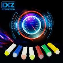 DXZ 10Pcs W3W W1.2W T5 COB car instrument panel light Auto Dashboard Warming Indicator Wedge lamp Ice Blue Red Pink Yellow Green