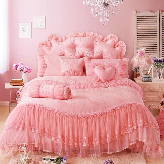 2018 100% Cotton Bedlinen Luxury lace bedclothes King Queen double size bedcover Jacquard duvet cover pillowcase bedding set