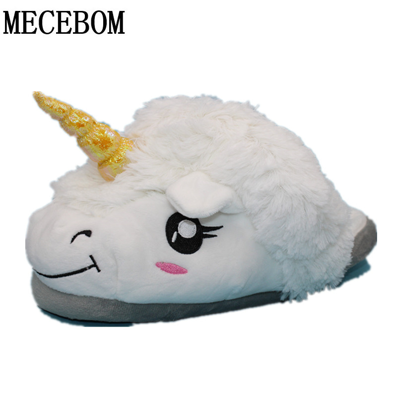 Plush Unicorn Cotton Home Slippers for White Despicable Winter Warm Chausson Licorne Indoor Christmas Slippers Fit Size36-41 B15 3d minions slippers woman winter warm slippers despicable minion stewart figure shoes plush toy home slipper one size doll