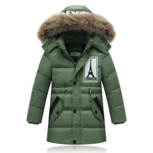 2016 fashion boys winter jacket thick hooded parkas warm boys down jacket letter patchwork big fur collar winter boy outerwear