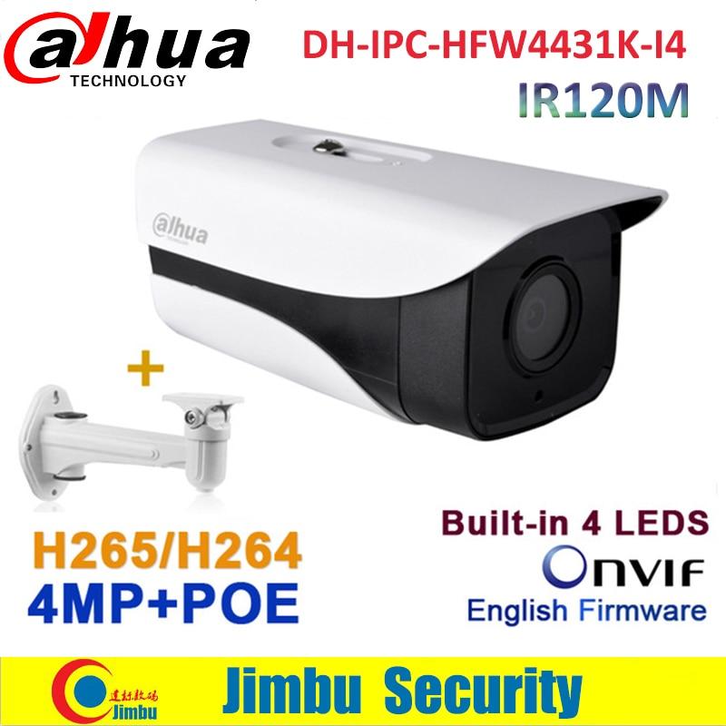 Dahua CCTV poe camera 4MP IP IPC-HFW4431K-I4 camera bullet IR 120M H.265 security camera with bracket dahua 4mp h 265 ip camera dh ipc hfw4431m as i2 bullet full hd ir 80m poe ip67 cctv network security camera with bracket