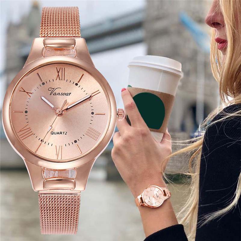 Women Watches New Fashion Rose Gold Leather Clock For Women Stainless Steel Band Quartz Wristwatch Luxury Casual Dress Watch #C