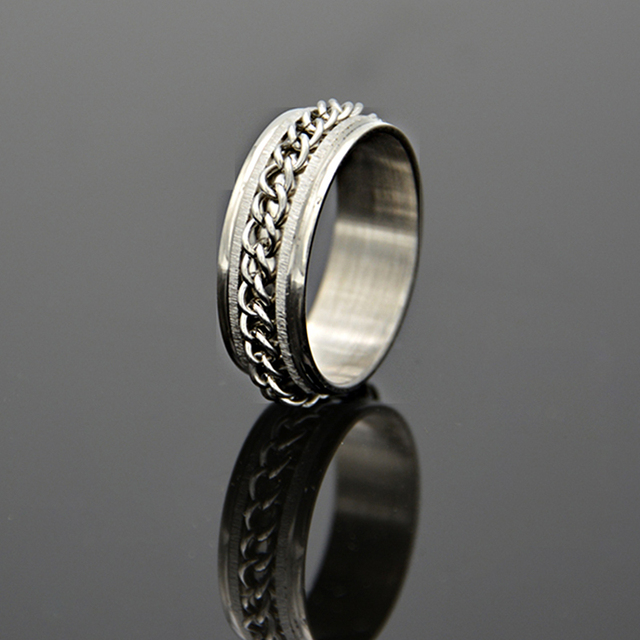 stainless steel chain band ring men jewelry hot fashion wedding rings 316l jewelry never fade biker - Biker Wedding Rings