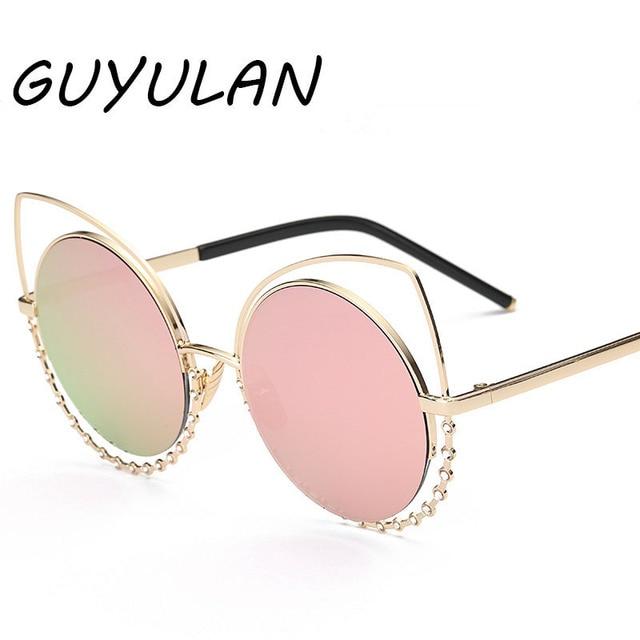 9dd6663a9635 GUYULAN Sweet Cat Eye Metal frame Lens Women sunglasses Dots diamond  elegant Brand designer Sun Glasses UV400 free with box
