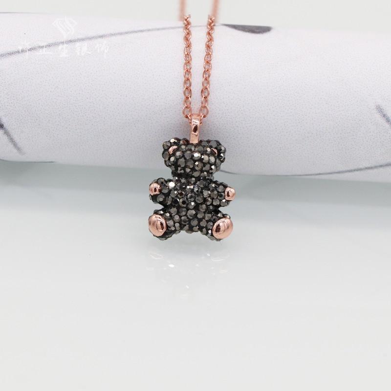 Медвежонок Стерлинговое серебро ожерелье День Святого Валентина милый плюшевый медведь полный Алмаз Кулон