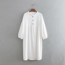 Summer Women Buttoned Shirt Dress Casual Solid Full Sleeve Vintage Slim Straight Retro Chinese Style Sundress