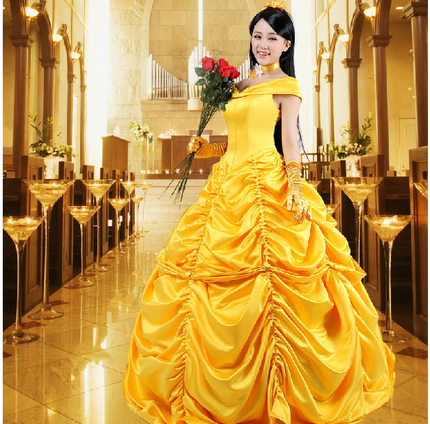 Beauty And The Beast La Belle et la Bete Princess Dress Bell Princess Yellow Dress Cosplay Halloween Costume Dress Customized