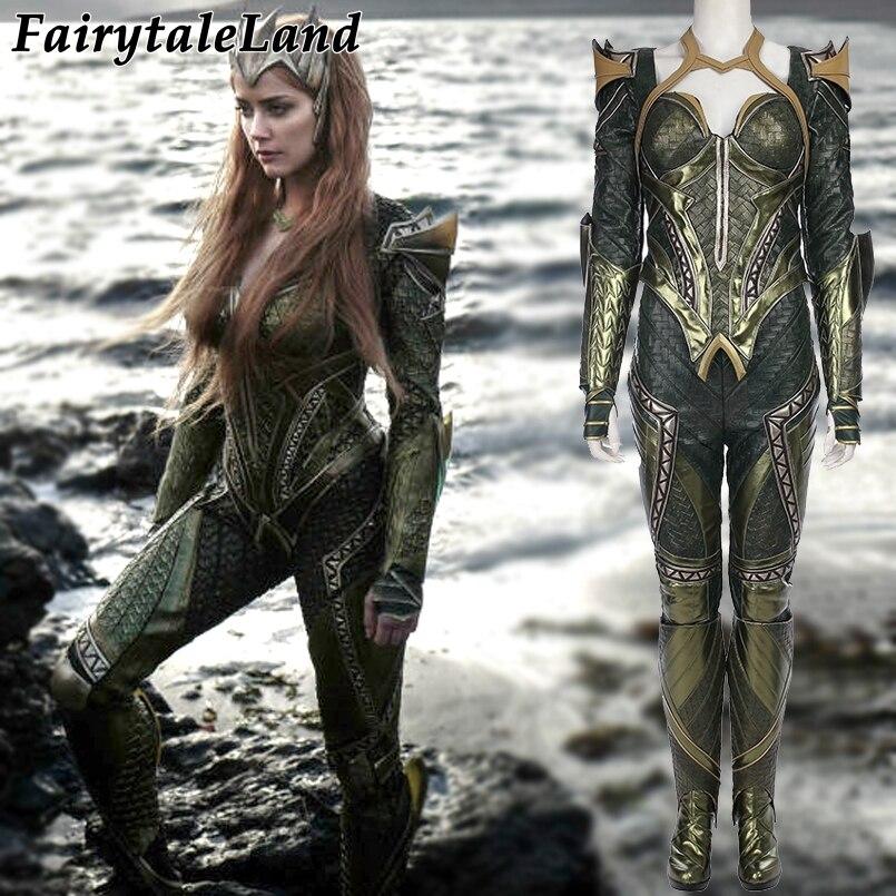 Ligue des Justiciers Mera Cosplay Costume Carnaval Costumes D'halloween pour adultes femmes Aquaman Reine Mera Costume Costume fait Sur Mesure