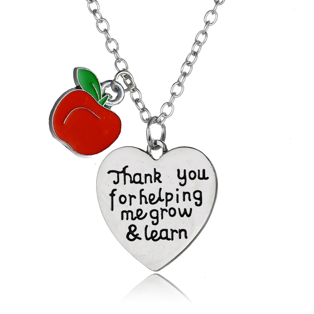 Teachers Day gifts  So much of me is made from what I learned from you  Stainless Steel Necklace with Apple Pendant Charm Teacher Appreciation Gifts