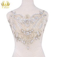 1 Piece Silver Hand Made Crystals Trim Patches Sew On Rhinestones Sequins Applique On Mesh For