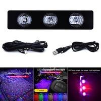 2019 Car Atmospheres Lamp LED Interior Foot Light Ambient USB Decoration Sound Control CSL88