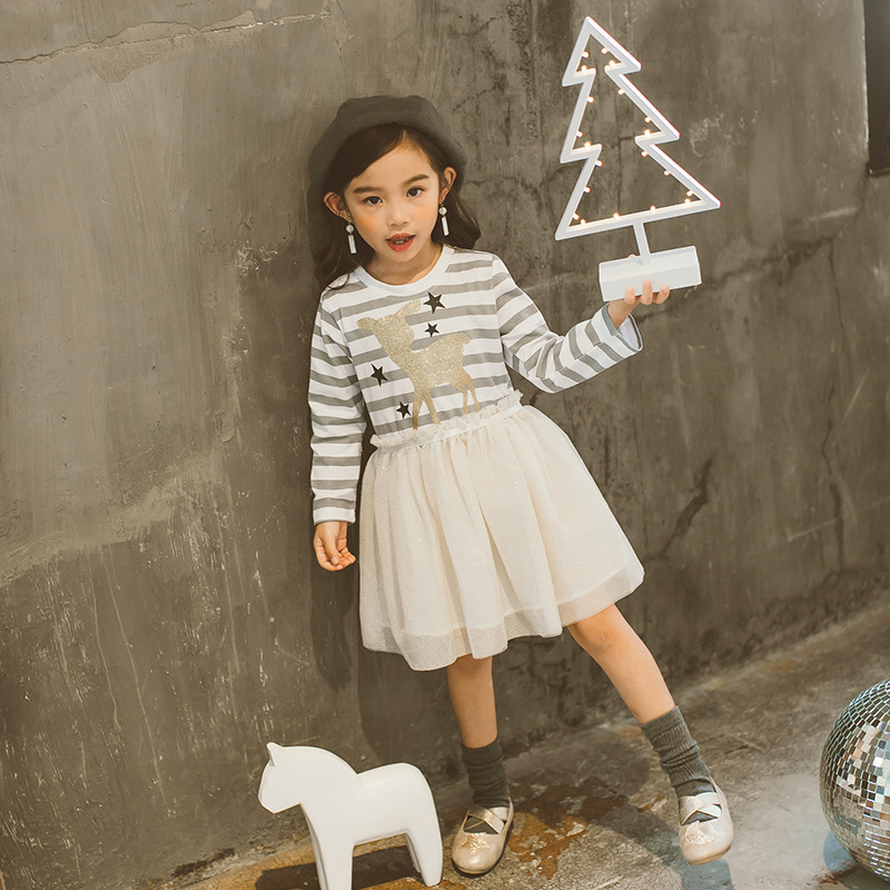Kids Girls Cartoon Dress Baby Girl Birthday Party Dresses Autumn Children Princess Wedding Clothes Winter Girls CLothing
