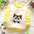 2015 новый осень зима свободного покроя сова рисунок девушки пуловеры мило бархат теплой новорожденных девочек футболки костюм 4 ~ 18 monthes новорожденный свитера