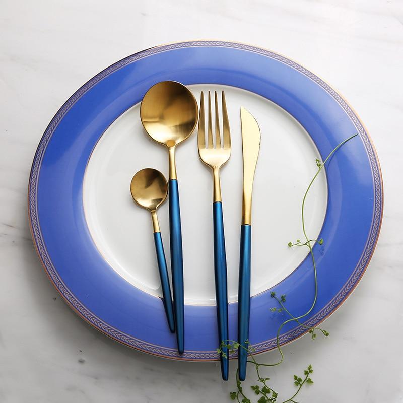 Нож из нержавеющей стали и forkset серия творческого дома ресторан синий вакуума золота Западной посуда