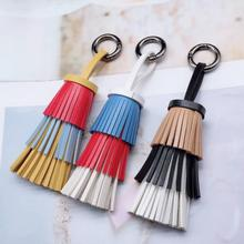 New Fashion Colorful Women PU Leather Keychain Tassels Keychain Cake Bag Pendant Alloy Car Key Chain Ring Holder Trendy Jewelry new fashion women heart rhinestone keychain pendant car key chain ring holder jewelry exquisite gifts m23