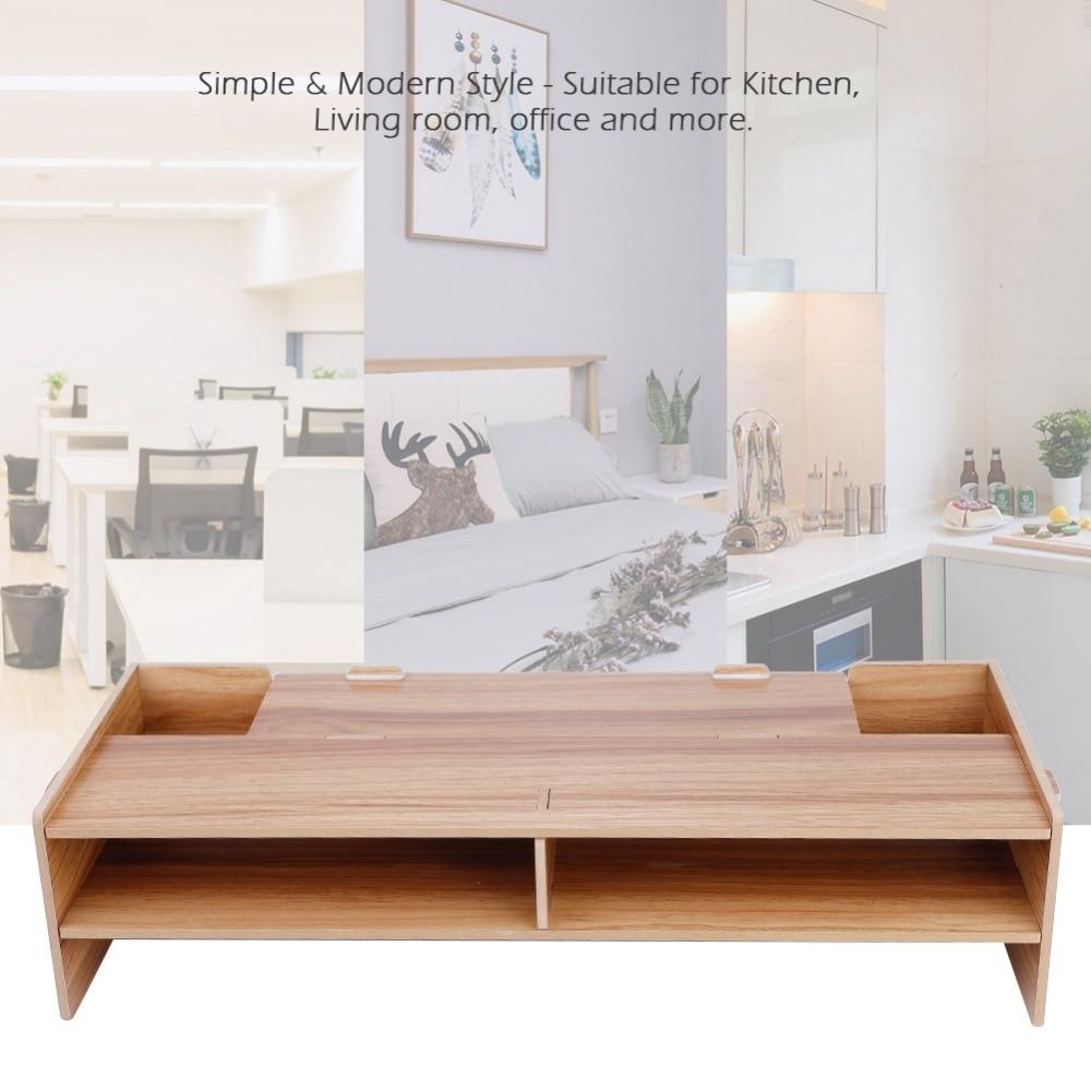 Soporte de estante de aumento para pantalla de pantalla Teclado Base soporte de escritorio de madera