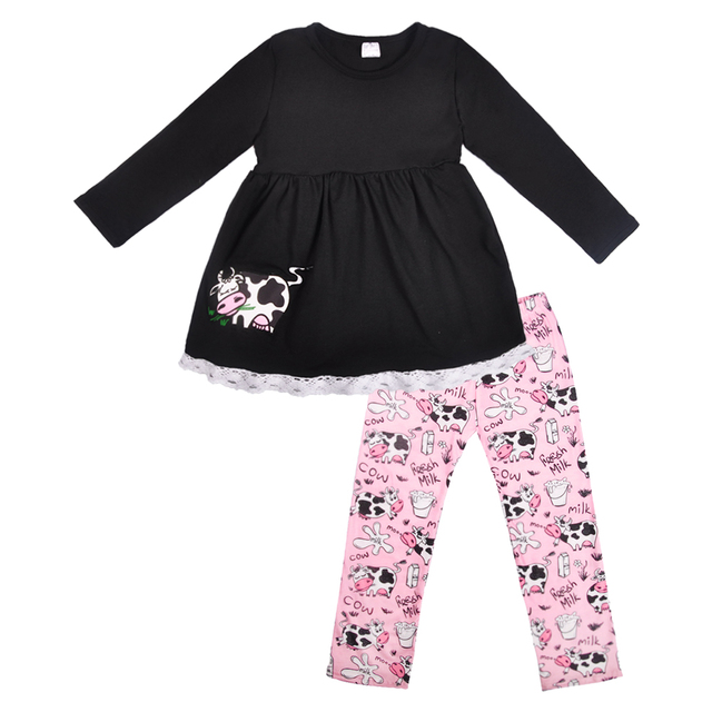 cdb65af7476 Wholesale Price Cute Remake Boutique Cow Outfit Cotton Girl Embroidery  Black Top Match Ruffle Pants clothing 2GK810-781-HY