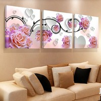 Limited Top Fashion Modern 3 Pieces Canvas Wall Art Painting Colorful Flower Pictures For Living Room Hd Print Unframed