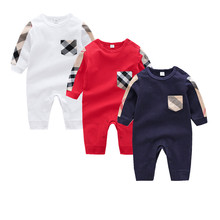 Купить с кэшбэком Newborn Baby Boys Cotton Jumpsuits Outfits Casual Long Sleeve Toddler Infant Rompers Pajamas Children's Overalls One Piece 0-12M