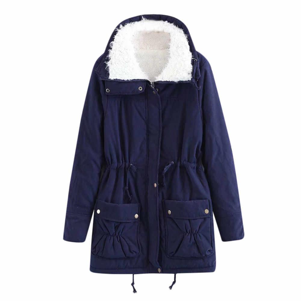 冬コート女性の冬の暖かい生き抜く付きポケットヴィンテージオーバーサイズコートマントのファム-#20181010