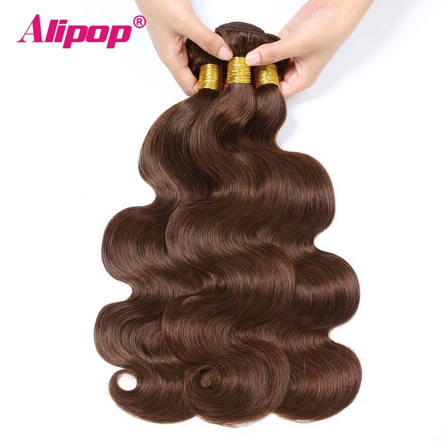 #4 Colored Body Wave Bundles Brazilian Hair 3 Bundles Light Brown Human Hair Weave Bundles Deals Hair Vendors Non Remy ALIPOP (3)
