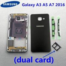 Boîtier complet double carte A3 A5 A7 2016 couvercle de batterie pour Samsung Galaxy A310 A510 A710 avant cadre moyen en métal couvercle arrière