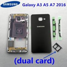 Capa de cartão dupla para celular, carcaça completa com cartão a3 a5 a7 2016 para samsung galaxy a310 a510 a710 capa traseira moldura