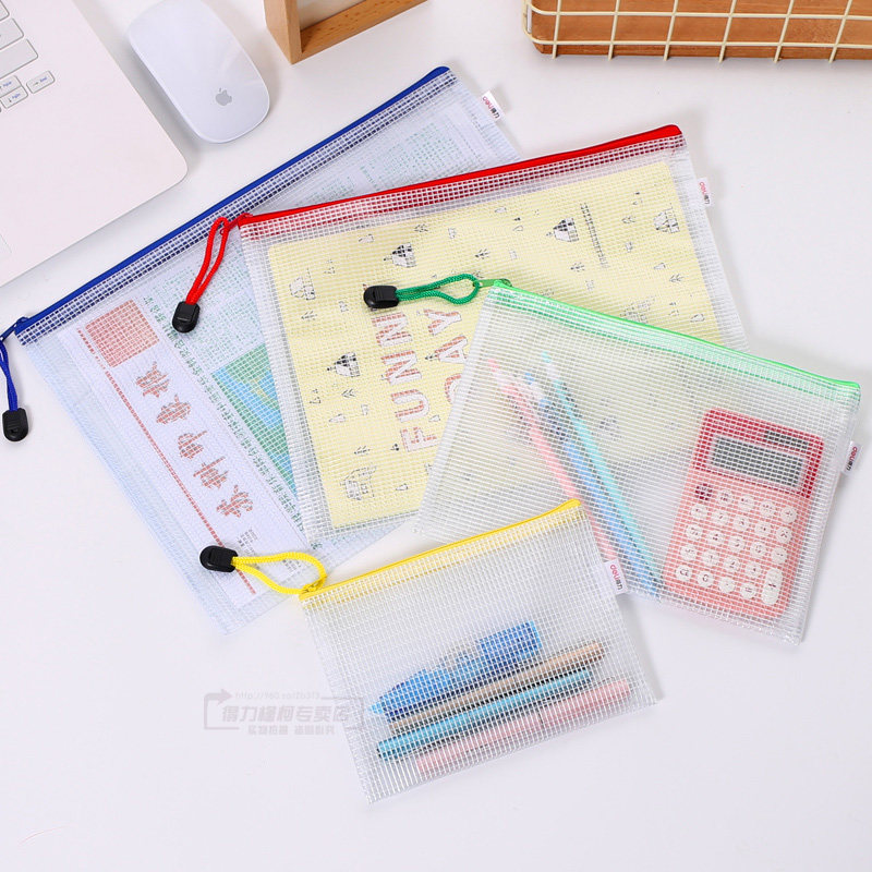 10pcs or 1pcs optional gridding waterproof Zi Pdocument Bag Filing Products Pocket Folder  Office School file folder Supplies 3