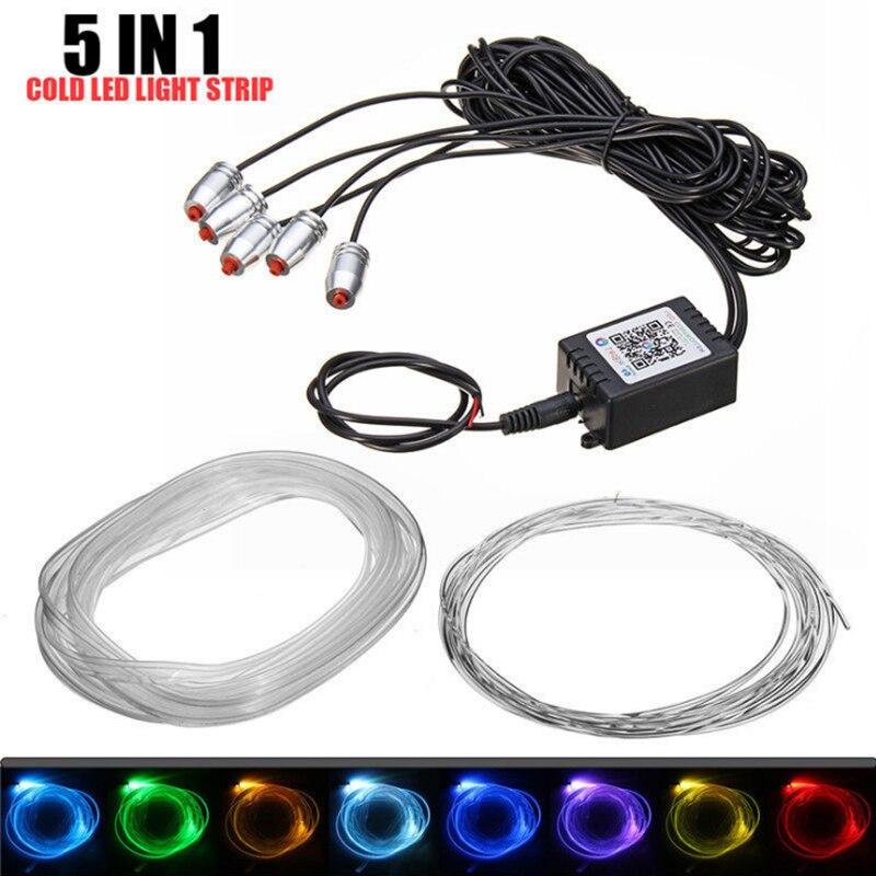 6 M RGB Fibra Óptica Lâmpadas Interior Do Carro Atmosfera de Luz Ambiente Decorativo Painel Da Porta do Controle Remoto ou Controle App