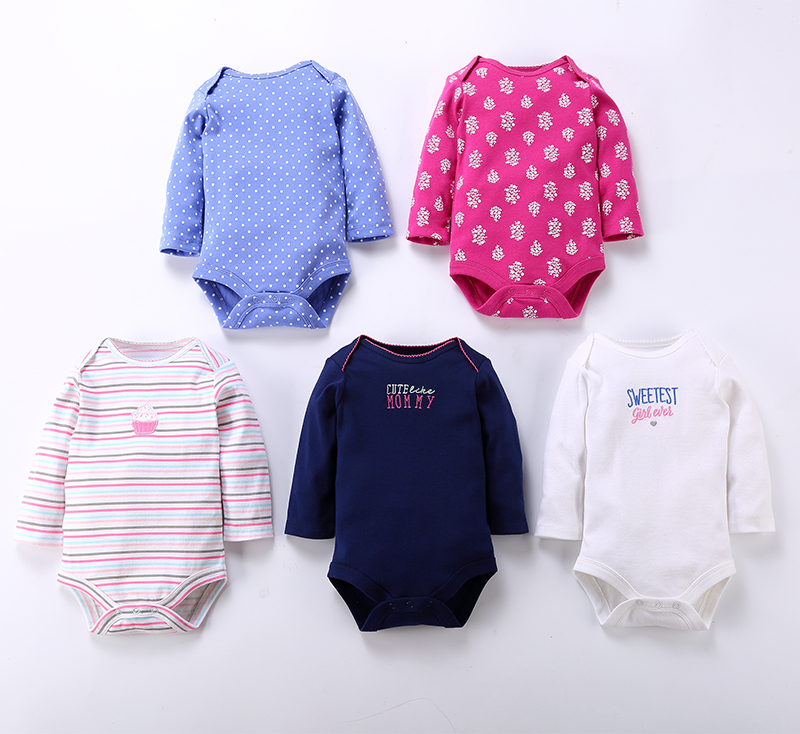 0-24M 5pcs Cartoon Long Sleeved Baby Girl Rompers Newborn Baby Girl Rompers Triangle Bodysuits Striped Baby ROBG040631567
