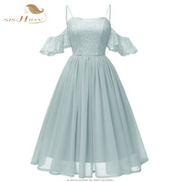 SISHION Princess Women Dress Pretty Beige Pink Lilac Blue Grey Strapless Chiffon Lace Ladies Party Sexy Dresses VD0867