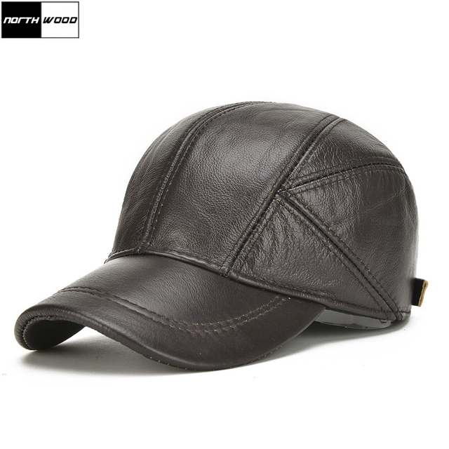 NORTHWOOD  High Quality Cowhide Genuine Leather Baseball Cap Men Winter  Casquette Homme Bone Snapback d7cff32a015c