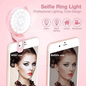 Image 2 - Selfie halka ışık kamera, klip [şarj edilebilir pil] Selfie Led kamera işık [32 Led] ile uyumlu Iphone,Ipad, fotoğraf #8