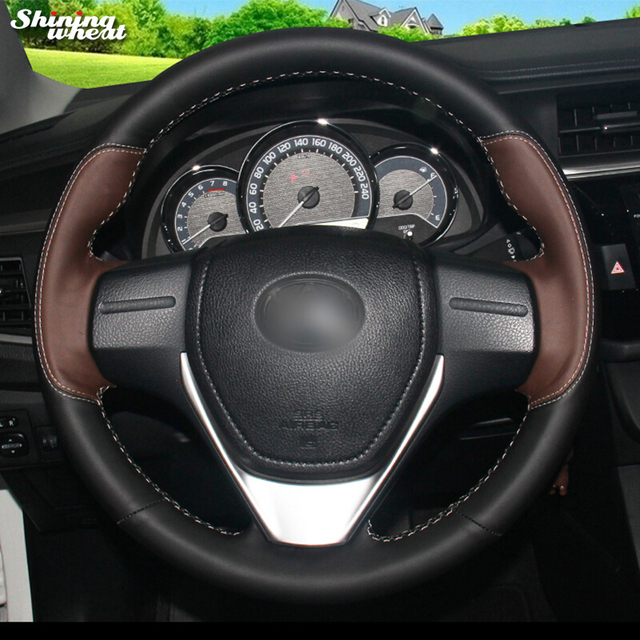 Shining Wheat Palm Red Black Leather Car Steering Wheel Cover For Toyota Rav4 2017 16