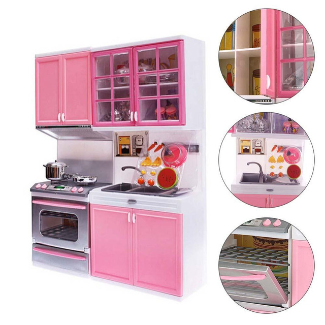 Pink Kid Kitchen Fun Toy Pretend Play Cook Cooking Cabinet